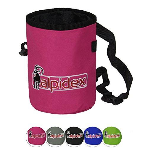 ALPIDEX Chalk Bag mit verstellbarem Hüftgurt und Kordelzug Magnesiabeutel Kreidebeutel Kalktasche Boulderbag, Farbe:Pink Power