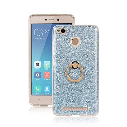 pinlu Funda Para Xiaomi Redmi 3S Anti-Arañazos Función Flash Brillante Suave TPU Silicona Case Ultra Delgada Hebilla del Anillo Soporte Diseño Azul