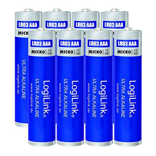 LogiLink AAA Micro 1.5V Batterie (8 Stück folienverpackt), Ultra Power Alkaline LR03, für diverse Geräte wie z.B. Fernbedienungen, Spielzeuge, Rauchmelder, etc.