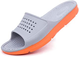 Men's Shoes-Leisure Pool Slides Sandals for Men Indoor Water Slippers Casual Slides EVA Sole Slip On Open Toe Anti Slip Lightweight Comfortable (Color : Gray, Size : 49 EU)