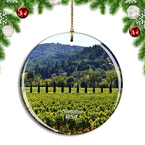Weekino USA America Sonoma County Christmas Xmas Tree Ornament Decoration Hanging Pendant Decor City Travel Souvenir Collection Double Sided Porcelain 2.85 Inch