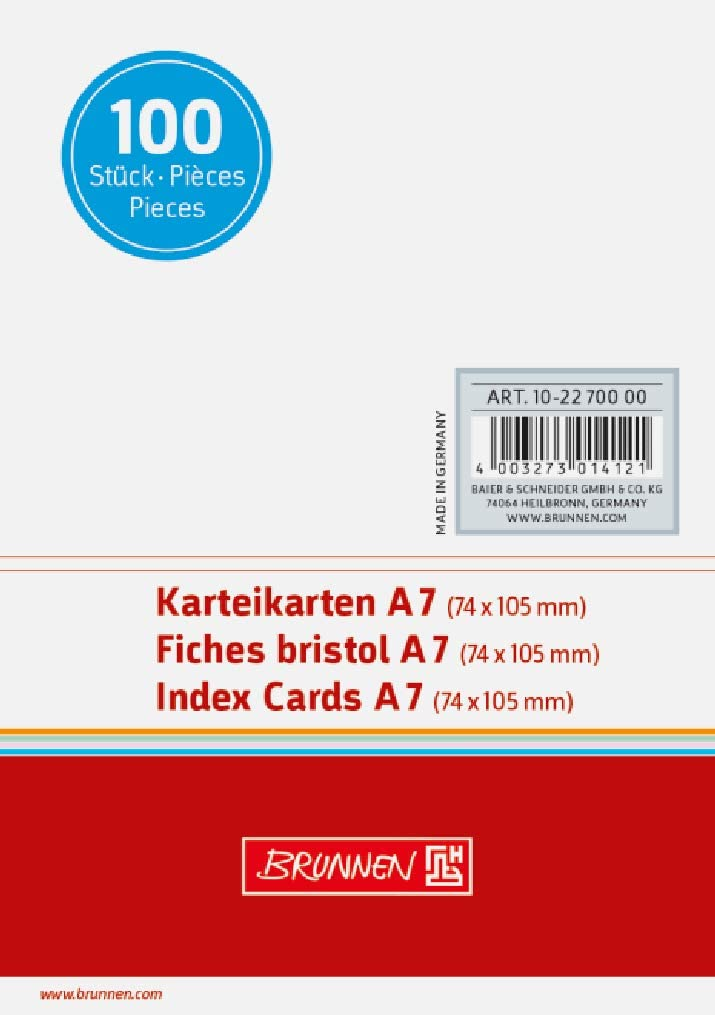 Brunnen New Free Shipping Max 80% OFF 102270000A7Index Card Unlined Pa Shrink-Wrapped