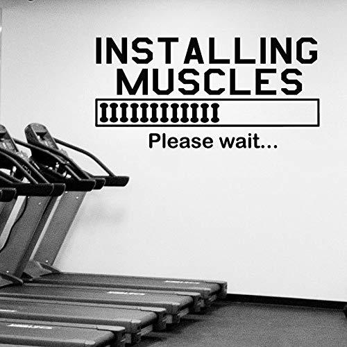 Adhesivo decorativo para pared con cita de instalación de músculos, para gimnasio, culturismo, deportes de fitness, motivación del gimnasio, decoración de la pared, arte mural deportivo AY976