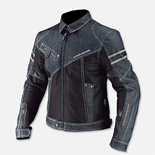 LALEO Unisex vestibilità Slim Stile Denim Casual Giacca da Moto, Anti-Caduta Traspirante Antivento Protezioni CE Quattro Stagioni Giacca Motocicletta/Bici/Corsa,XXL