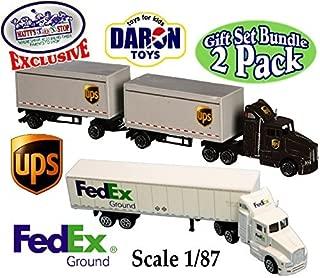 Daron Die-cast UPS (United Parcel Service) & FedEx Ground Tractor Trailers (Scale 1/87)