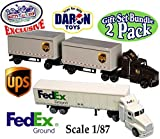 Daron Die-cast UPS (United Parcel Service) & FedEx Ground Tractor Trailers (Scale 1/87) 'Matty's Toy Stop Set Bundle - 2 Pack
