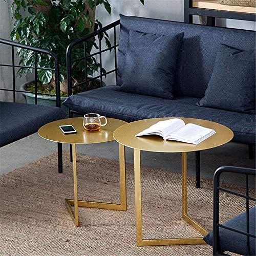 サイドテーブルリビングルーム装飾的なテーブル用の2リビングルームエンドテーブルサイドテーブルメタルコーヒーエンドサイドテーブル金属ネストコーヒーテーブルセット小型テーブルシンプルの良いおしゃれ(Color:Gold,Size:Aspicture)