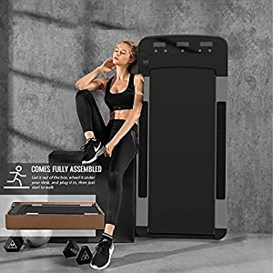 NBJstar Under Desk Treadmill - Walking Running Pad Flat Motorized Fitness Exercise Machine, Mini Quiet Slow Running Treadmill with Smart Remote and LED Display for Home and Office,Installation-Free