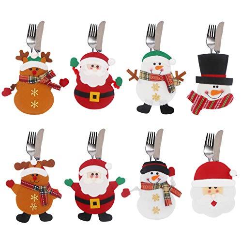 Annhao Portaposate di Natale 8 Pezzi, Cucina Posate Coltello Forchetta Cucchiaio Babbo...