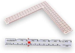 DIY縫製と編みゲージ測定ツール裁縫アクセサリー15cm + 8インチ/ 17cm L-スクエアライトアングルルーラー L形 正方形 90度 裁縫用定規