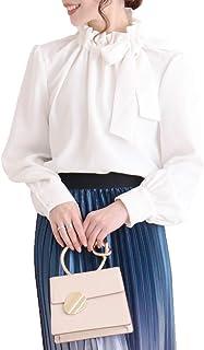 [サワ アラモード] ギャザー リボン 襟 ボリューム袖 ブラウス レディース ファッション トップス ミント 長袖 無地 きれいめ シャツ