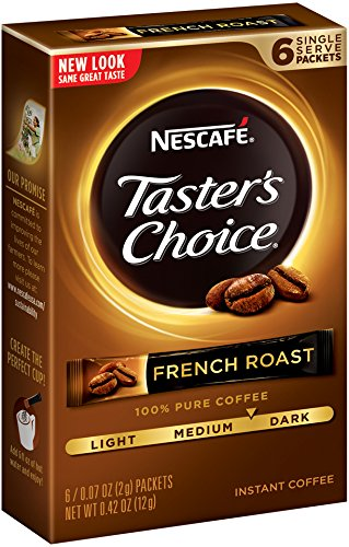 Nescafe Taster's Choice French Roast Instant Coffee, 6 Count Single Serve Sticks (Pack of 12)