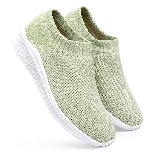 meriggiare® Women Fashion Breathable Sneakers Comfort Sock Slip-ons Lightweight Sport Gym Fitness Workout Jogging Walking Memory Foam Running Sports Shoes- Patel Green