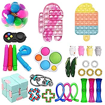 Guccou IceCream Sensory Fidget Toys Pack - Cheap Fidget Toy Set Stress Relieve and Anxiety Fidget Toy Box for Kids & Adults Sensory Therapy Toys for ADHD Autism Stress Anxiety  Style a One Size