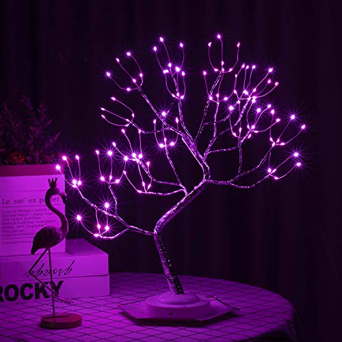 FUCHSUN Led Bonsai Tree Light Artificial Light Tree,Battery/USB Operated 6 Hrs Timer,Adjustable Branches, for Home Decoration Night Light and Gift (Pink)