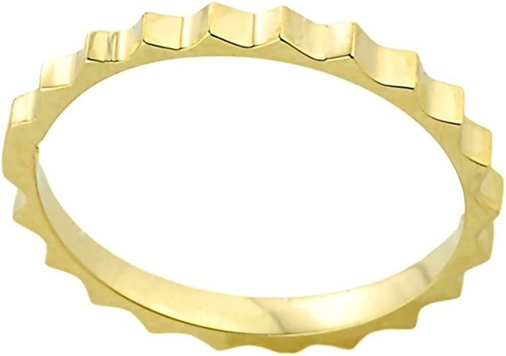 Stacking 14k Yellow Gold Sizable Gear Cut Toe Ring