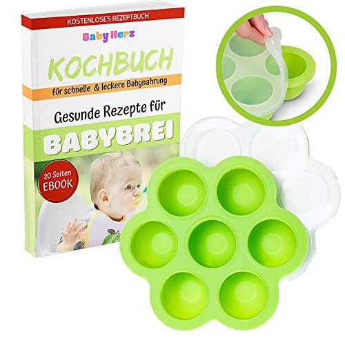 Babybrei Behälter zum Einfrieren und zur Aufbewahrung von Babynahrung - Geeignet für Gefrierschrank + KOSTENLOSES E-BOOK (Grün)