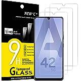 NEW'C 3 Unidades, Protector de Pantalla para Samsung Galaxy A42 5G, Galaxy M12, Antiarañazos, Antihuellas, Sin Burbujas, Dureza 9H, 0.33 mm Ultra Transparente, Vidrio Templado Ultra Resistente