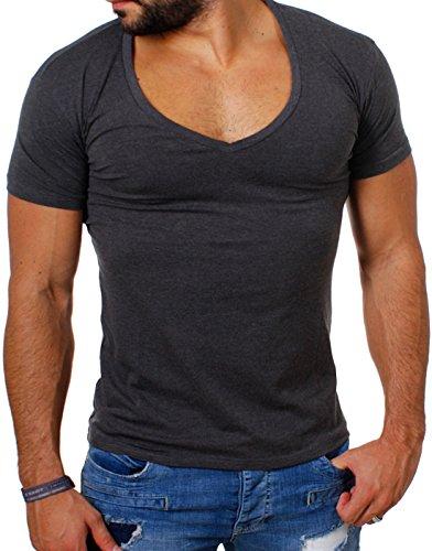 Young & Rich / Rerock Herren Uni T-Shirt mit extra tiefem V-Ausschnitt slimfit deep V-Neck stretch dehnbar einfarbiges Basic Shirt 1315 , Grösse:M;Farbe:Dunkelgrau
