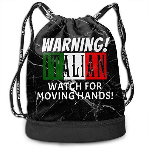 Kordelzug Tragetasche,Warnung Italienische Uhr Für Bewegliche Hände Kordelzug Rucksack Tasche, Unisex Kordelzug Badetaschen Zur Aufbewahrung Goodie Taschen,39x41x17.5cm