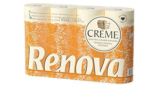 Renova Toilettenpapier 4lagig Creme parfümiert–12Rollen Rolle