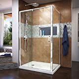 DreamLine Flex 36 in. D x 48 in. W x 74 3/4 in. H Semi-Frameless Pivot Shower Enclosure in Chrome with Left Drain White Base Kit, DL-6719L-01CL