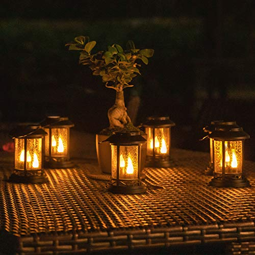 Beautyard Outdoor Hanging Solar Candles Lights Flickering Decorative Lantern Stake Lighting for Garden, Backyard, Lawn, Pathway, Patio Accessories and Decor (6 Pack, Black)