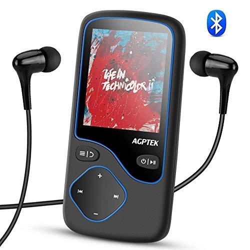 AGPTEK Bluetooth 4.1 16GB MP3 Player, Tragbare Musik Player, Diktiergeräte, 1,8 Zoll Bildschirm Player, unterstützt 128GB Micro SD Speicherkarte, Aufnahme,FM Radio, C5M