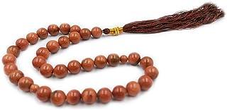 REBUY Islamic Prayer Beads Tasbih Natural Golden Sandstone Misbaha Rosary Tasbeeh 33 Beads with Wooden Gift Box