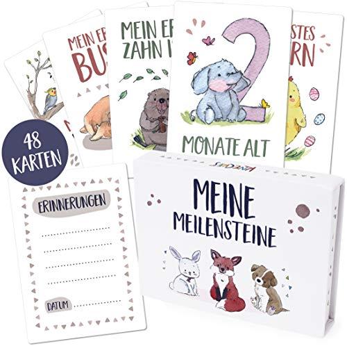 48 hochwertige Baby Meilensteinkarten/Milestone Baby Cards inkl. schöner Geschenkbox und Ratgeber, das ideale Geschenk zur Geburt, Taufe oder Babyparty für Mädchen und Jungen