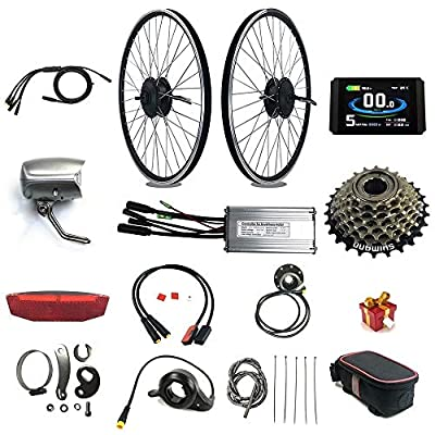 RICETOO Electric Bicycle Waterproof Conversion Kit,E-Bike Waterproof Connector,48V 500W Hub Motor, Rear Rotate 26 Inch Motor Wheel, Brushless Gear Motor,KT-LCD8H Color Display
