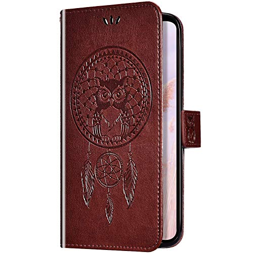 Uposao Kompatibel mit Huawei Honor View 10 Handyhülle Wallet Lederhülle Traumfänger Mandala Eule Muster Leder Tasche Schutzhülle Brieftasche Handytasche Klapphülle Flip Hülle,Braun