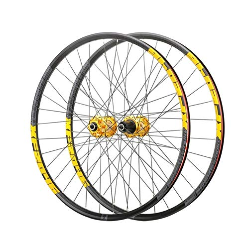 Hs&con MTB Rueda 26'27.5' 29'Mountain Bike Wheelset QR Double Wall Disc Disc Hub de Freno para 8-12 Cassette de Velocidad Oro (Size : 26')
