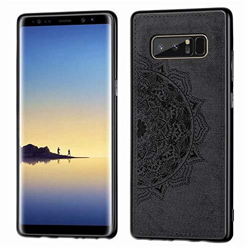CHENDX Caso para Samsung Galaxy Note 8, Funda Protectora de Cuero de Tela de Patrón Mandala Funda para teléfono Inteligente para Samsung Galaxy Note 8 (Color : Black)