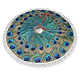 Peacock Feather Circle Christmas Tree Skirt 48' Large Halloween Xmas Tree Decor for Holiday Party Decor Christmas Decoration