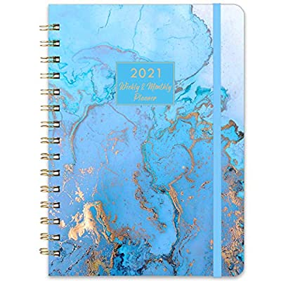 "2021 Planner - Weekly & Monthly Planner with Tabs, 6.3"" x 8.4"", Jan. - Dec. 2021, Hardcover with Back Pocket + Thick Paper + Banded, Twin-Wire Binding - Blue Gilding"