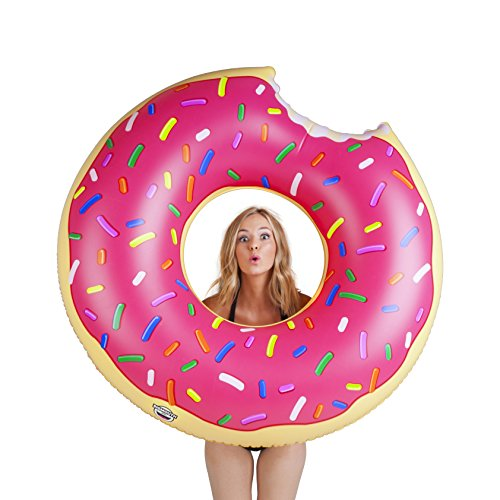 BigMouth Inc Gigantic Donut Pool Float, Funny Inflatable Vinyl Summer Pool or Beach Toy, Patch...