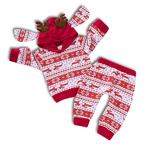 ZOELNIC Baby Girls Boys Christmas Pants Set Long Sleeve Hoodie + Snowflake Pants Outfit (Red, 12-18m)