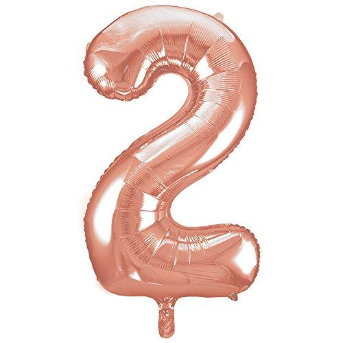 Unique Party - 55872 - Ballon Géant - Numéro 2 - 86 cm - Or Rose