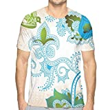 Photo de WANGKG 3D Printed T Shirts,Floral Eastern Nature with Bird Leaf Paisley Arabesque Inspired Pattern