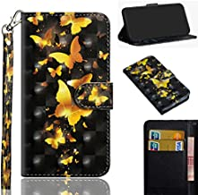 DAMONDY Redmi Note 8T Case, 3D Cute Premium PU Leather Flip Card Slots Kickstand Stylish Slim Cover with Holders Design Wallet Magnetic Case for Xiaomi Redmi Note 8T -Gold Butterfly