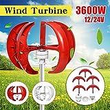 zhangchao 3600W Wind Turbine Generator,Controller 12V 24V 48V 5 Blades Lantern Vertical Axis Permanent Magnet Generator Solar Wind Power Parts,Red,48v