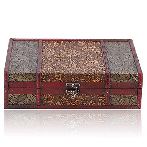 YUYTE Baúl de Madera, Material de aleación, diseño de pestillo, Caja Cuadrada...