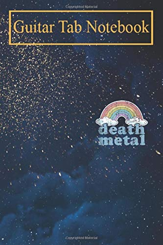 Guitar Tab Notebook: DEATH METAL Rainbow Funny Retro Vintage Rock Music Metalhead Blank Sheet Music For Guitar over 100 Pages With Chord Boxes