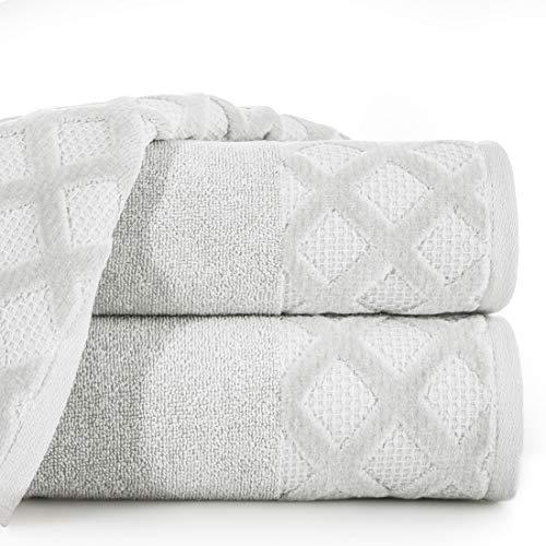Eurofirany handdoek katoen zacht 70x140 cm geruit ruiten ruitpatroon randset 3-pack Oeko-Tex, zilver, 70x140cm, 3 stuks