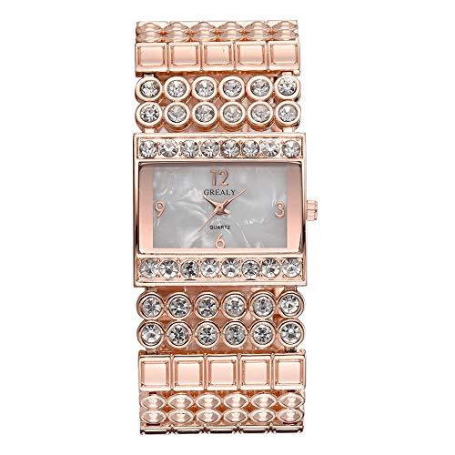 GJHBFUK Reloj De Cuarzo Reloj De Aleación De Moda Reloj De Cuarzo Cuadrado Especial Forma Cuadrada Forma Rhinestone Reloj Femenino (Oro Rosa)