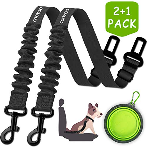 COOYOO Dog Seat Belt,2 Packs Retractable Dog Car Seatbelts Adjustable Pet Seat Belt for Vehicle Nylon Pet Safety Seat Belts Heavy Duty & Elastic & Durable Car Harness for Dogs