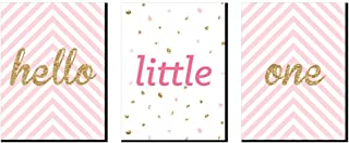 Big Dot of Happiness Hello Little One - Pink and Gold - Baby Girl Nursery Wall Art and Kids Room Decorations - Christmas Gift Ideas - 7.5 x 10 inches - Set of 3 Prints