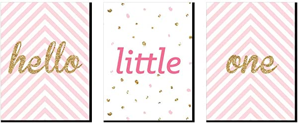 Big Dot Of Happiness Hello Little One Pink And Gold Baby Girl Nursery Wall Art And Kids Room Decorations 7 5 X 10 Inches Set Of 3 Prints