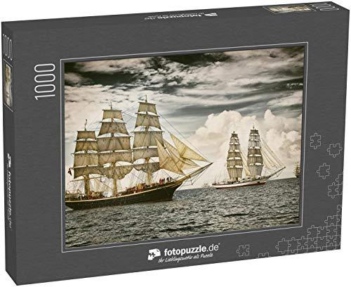 fotopuzzle.de Puzzle 1000 Teile Segelschiffe unter Segel. Getontes Bild und Unschärfe. Postkarte im Retrostil. Segeln. Yachting (1000, 200 oder 2000 Teile)